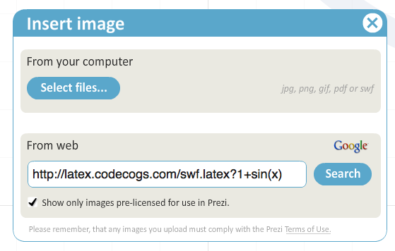 Latex into Prezi via codecogs
